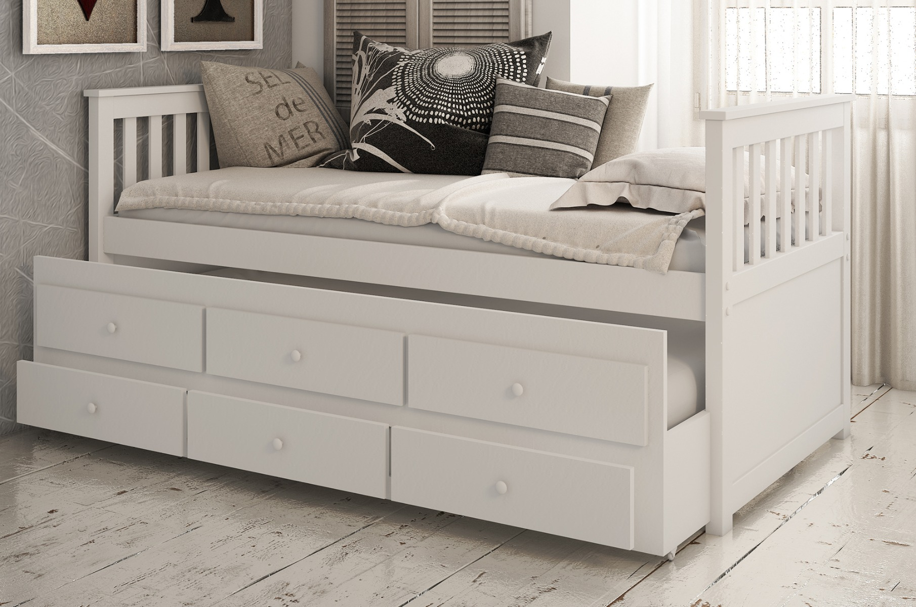 Flos 3ft Single White Wooden Day Bed