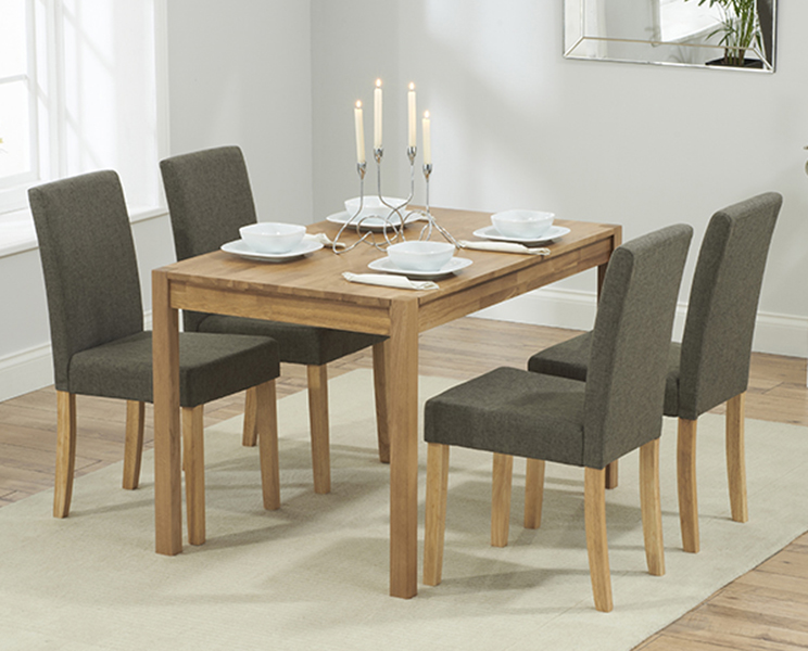 Promo 120 cm Solid Oak Dining Table with 4 Maiya Grey Fabric Chairs