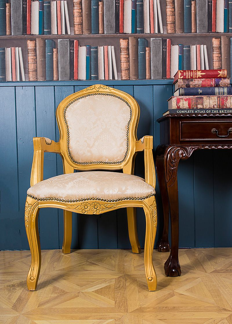 French Louis Gold Damask Armchair