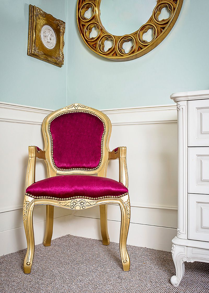 French Louis Red Damask Armchair