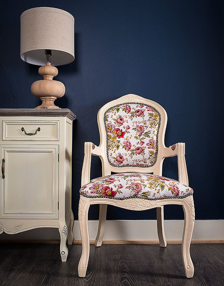 French Louis Red Floral Armchair