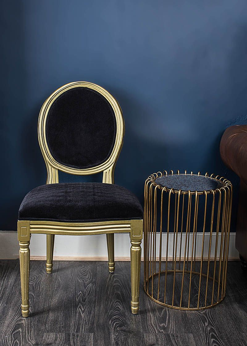French Louis Black Velvet With Gold Frame Side Chair