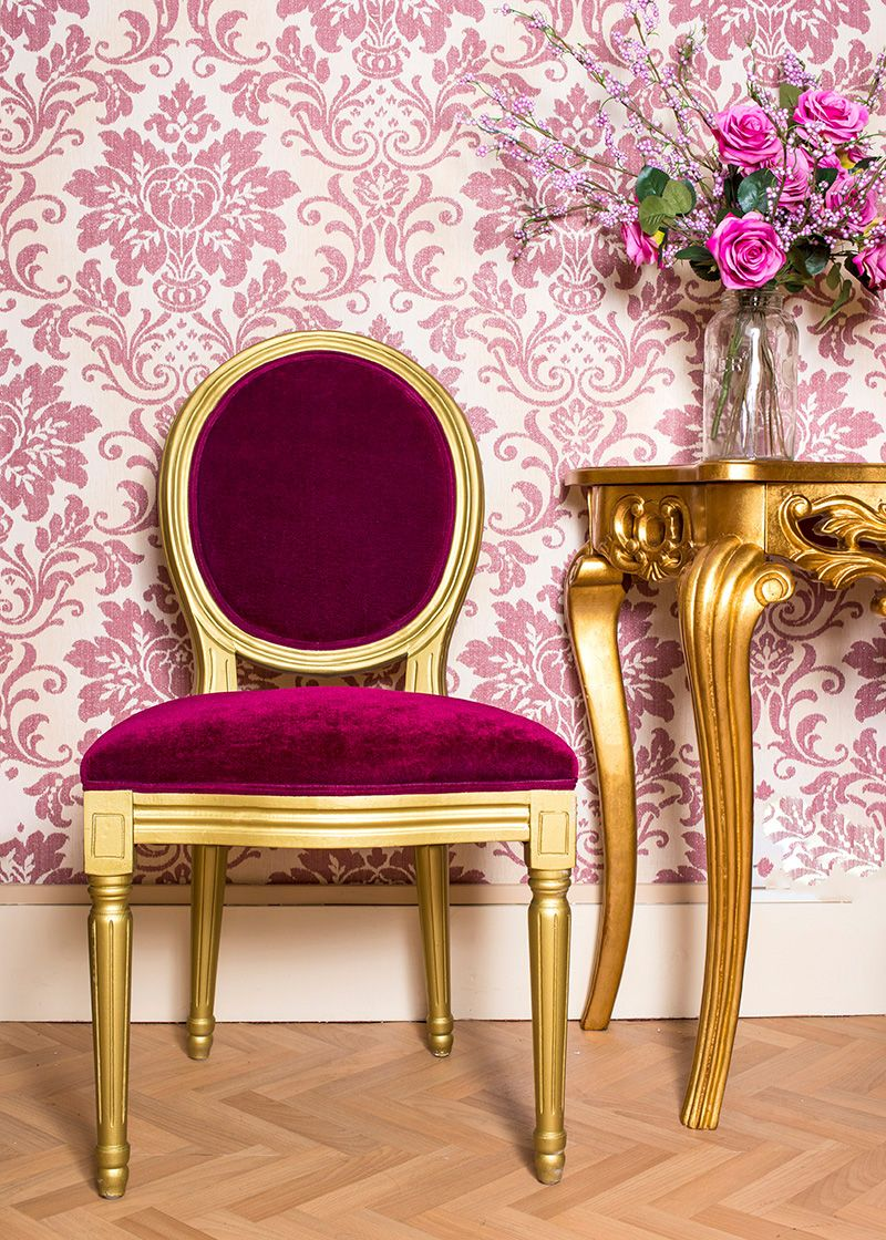 French Louis Red Velvet Side Chair