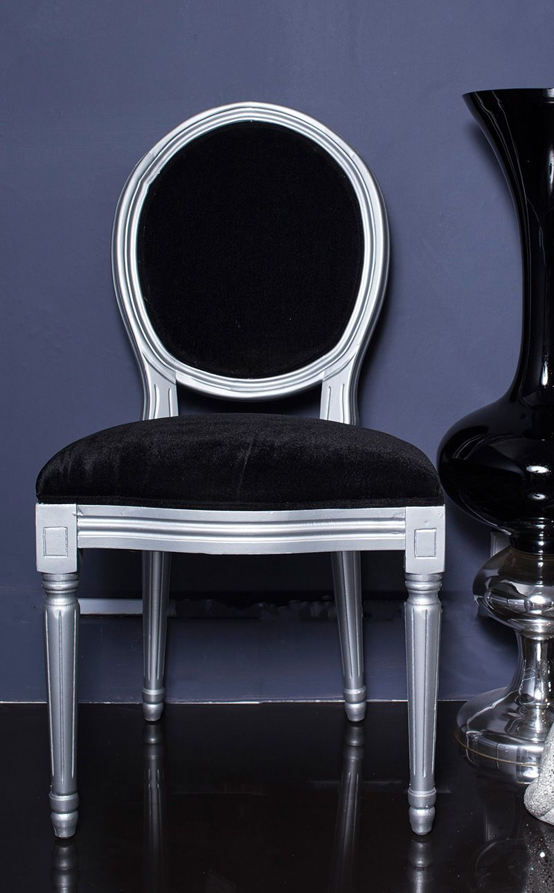French Louis Black Velvet With Silver Frame Side Chair