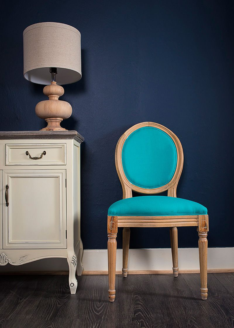 French Louis Turquoise Linen Fabric Side Chair
