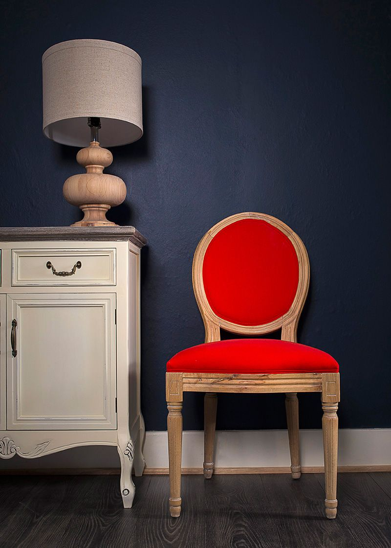 French Louis Red Linen Fabric Side Chair