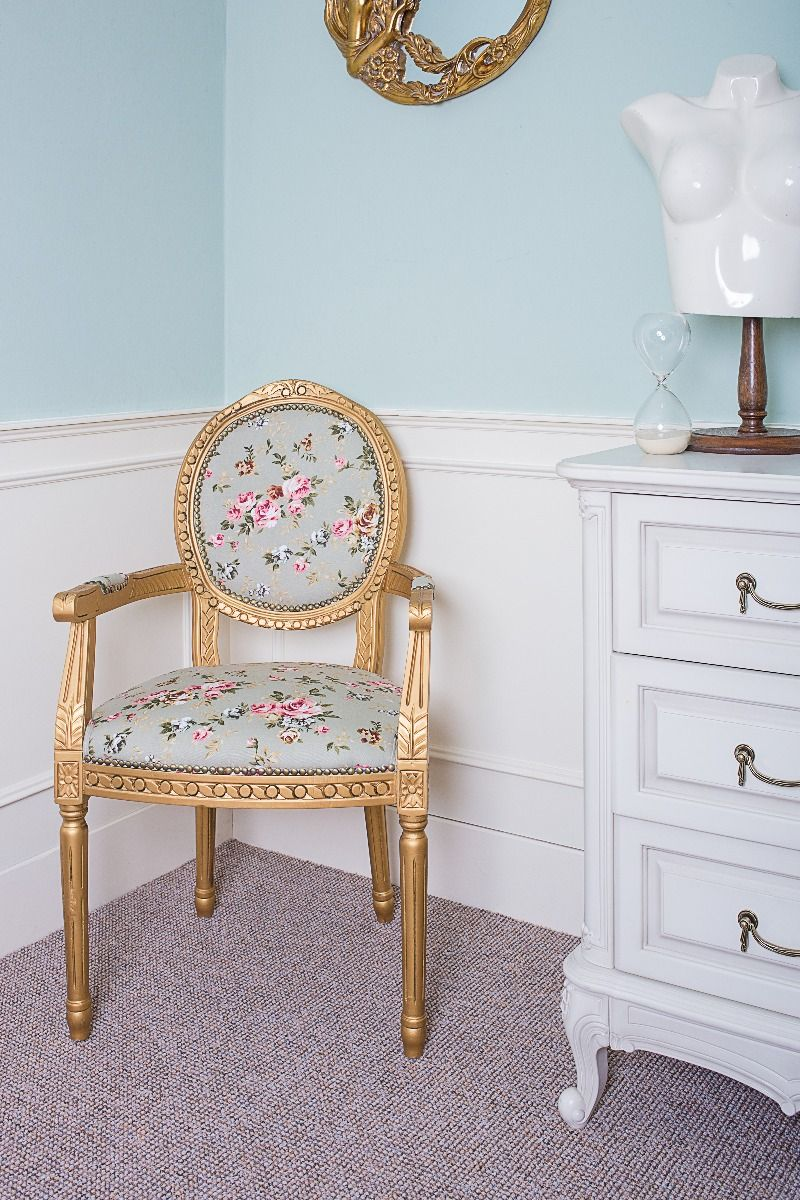 French Louis Green Pink Floral Fabric Armchair