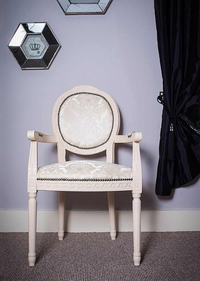 French Louis White Damask Fabric Armchair