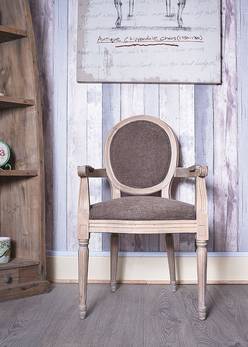 French Louis Brown Linen Fabric Armchair