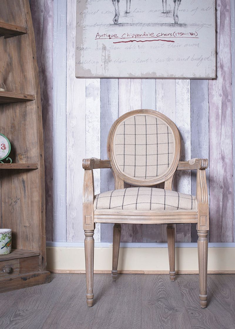 French Louis Beige Square Fabric Armchair