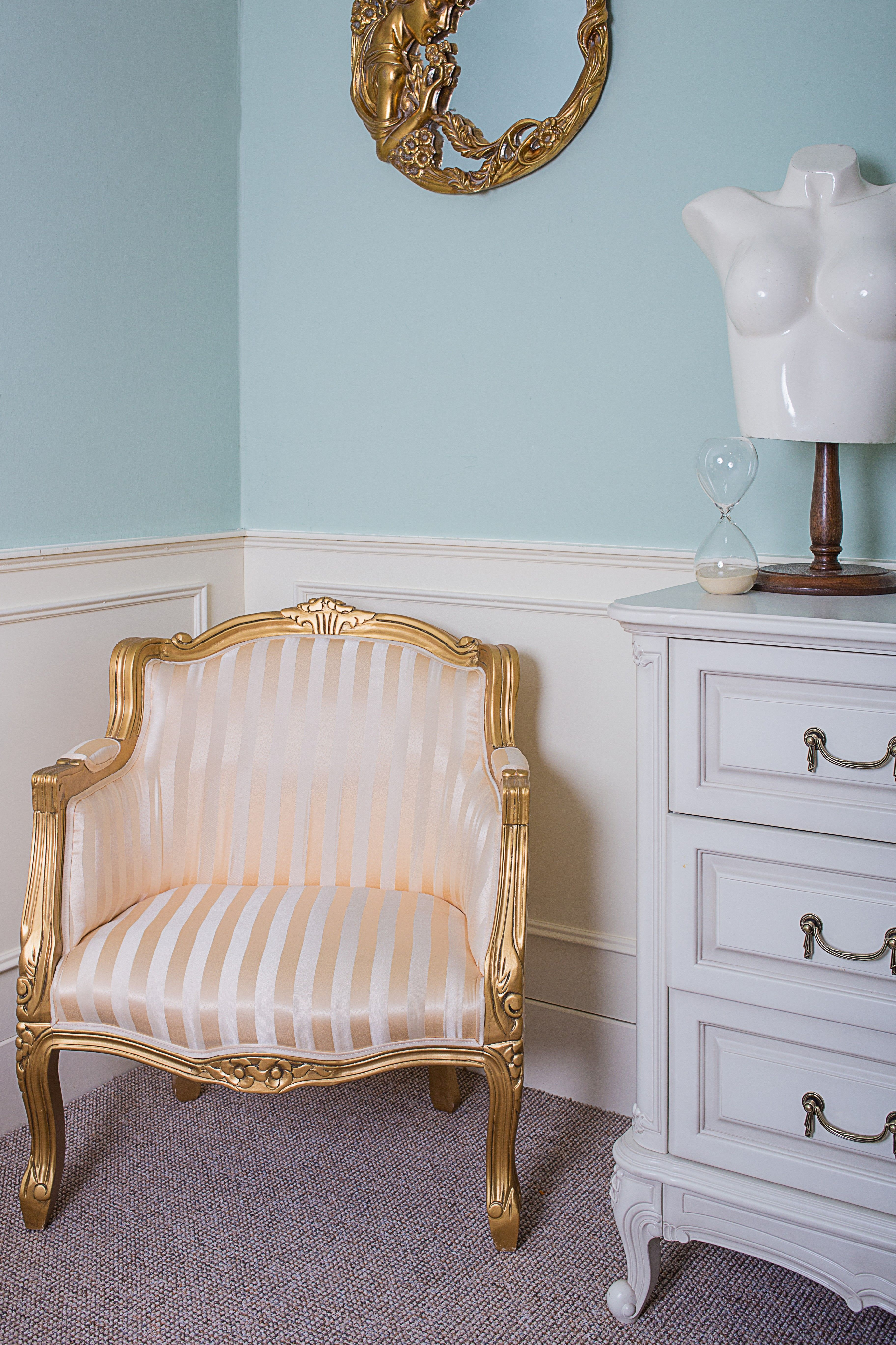 French Louis Gold Stripe Fabric Armchair
