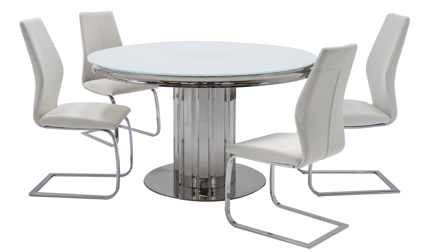 Greco White Glass Round Dining Table