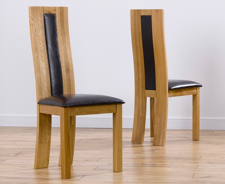 Havana Solid Oak Dining Chairs With Brown Leather Seat - Pair
