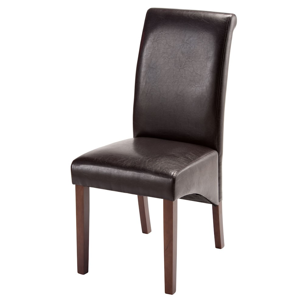 'Henley Brown Faux Leather Kd Dining Chair With Dark Leg