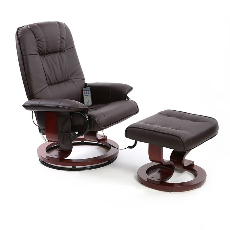 Photo of Fairmont nice brown leather massage and heat swivel recliner chair
