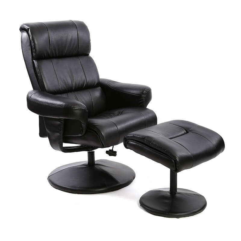 Photo of Fairmont strasbourg brown leather swivel recliner chair with footstool