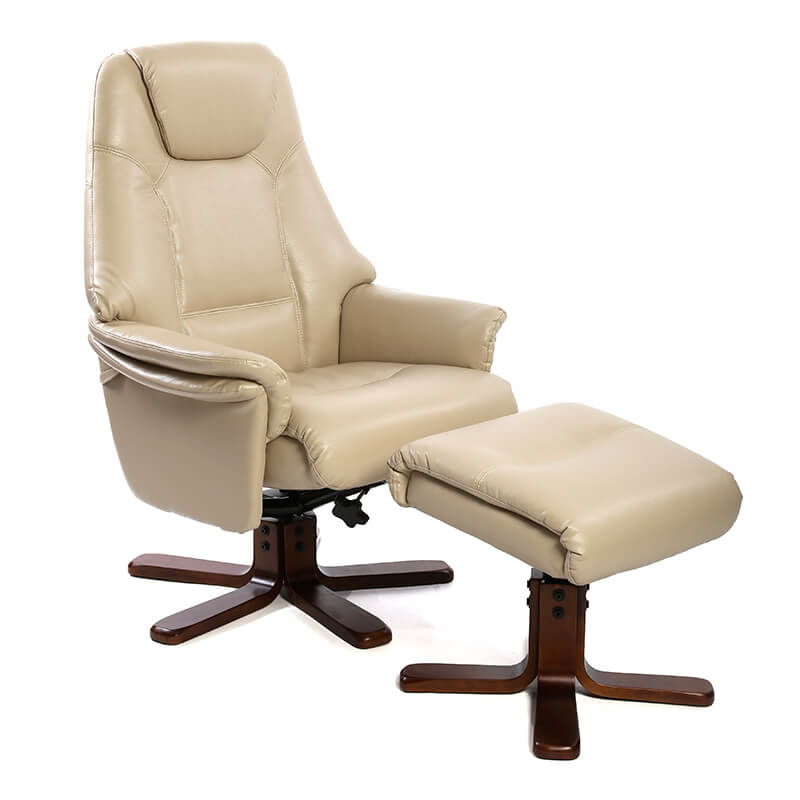 Photo of Fairmont cannes taupe leather swivel recliner chair with footstool
