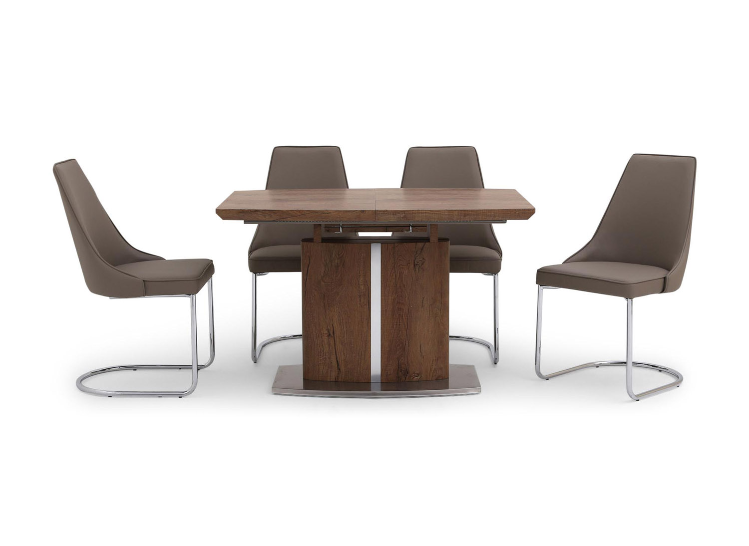 Fairmont Thiago Ext Walnut Dining Table + 4 Mya Taupe Chairs