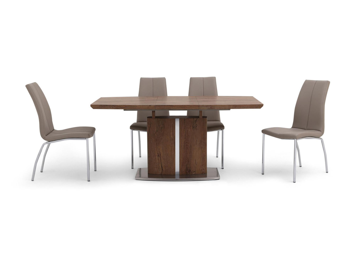 Fairmont Thiago Ext Walnut Dining Table + 4 Ava Taupe Chairs