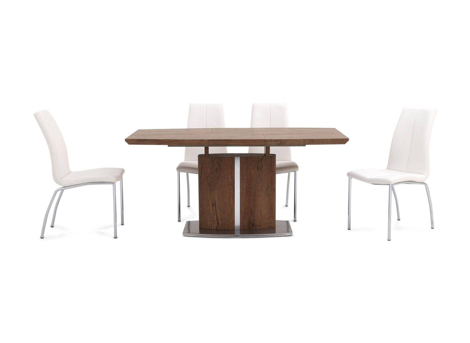 Fairmont Thiago Ext Walnut Dining Table + 4 Ava White Chairs
