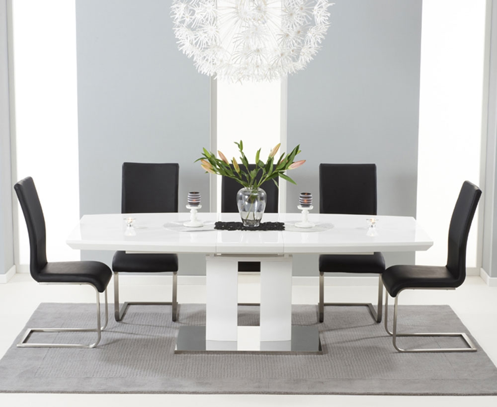Photo of Rossini 180cm high gloss extending dining table with 6 malibu black chairs