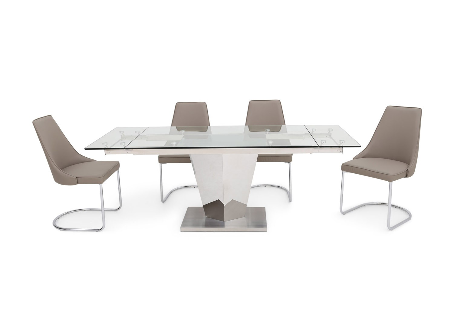 Fairmont Isabella Ext Clear Glass Dining Table + 6 Mya Grey