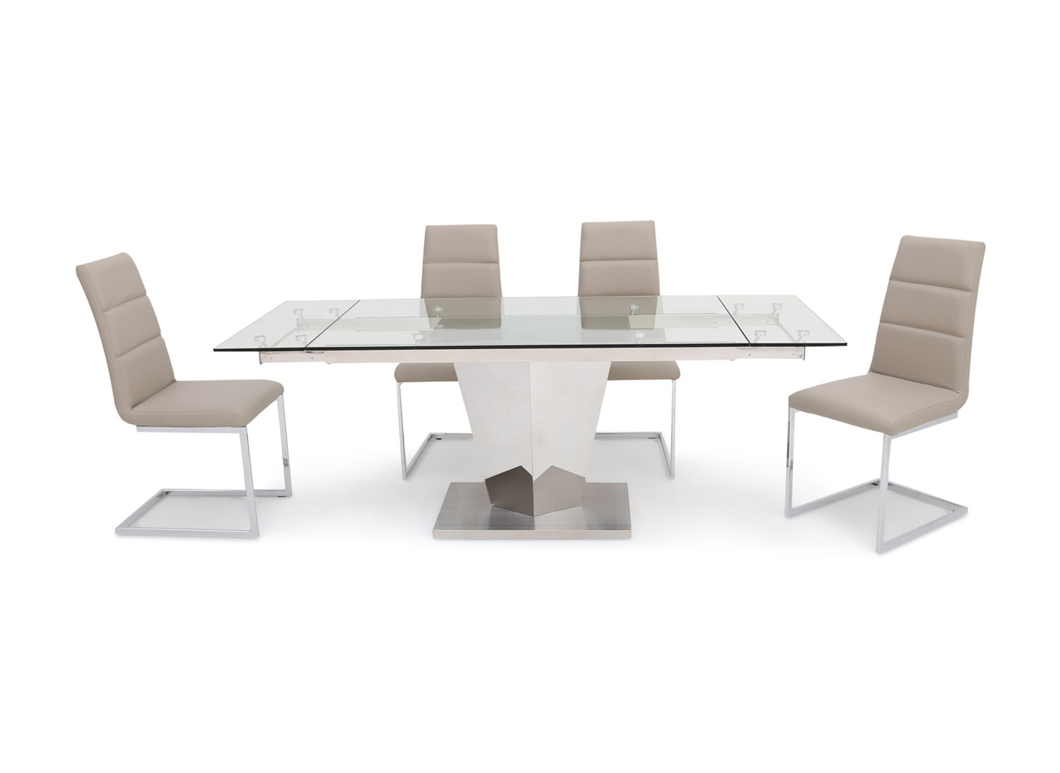Fairmont Isabella Ext Clear Glass Dining Table + 6 Zara