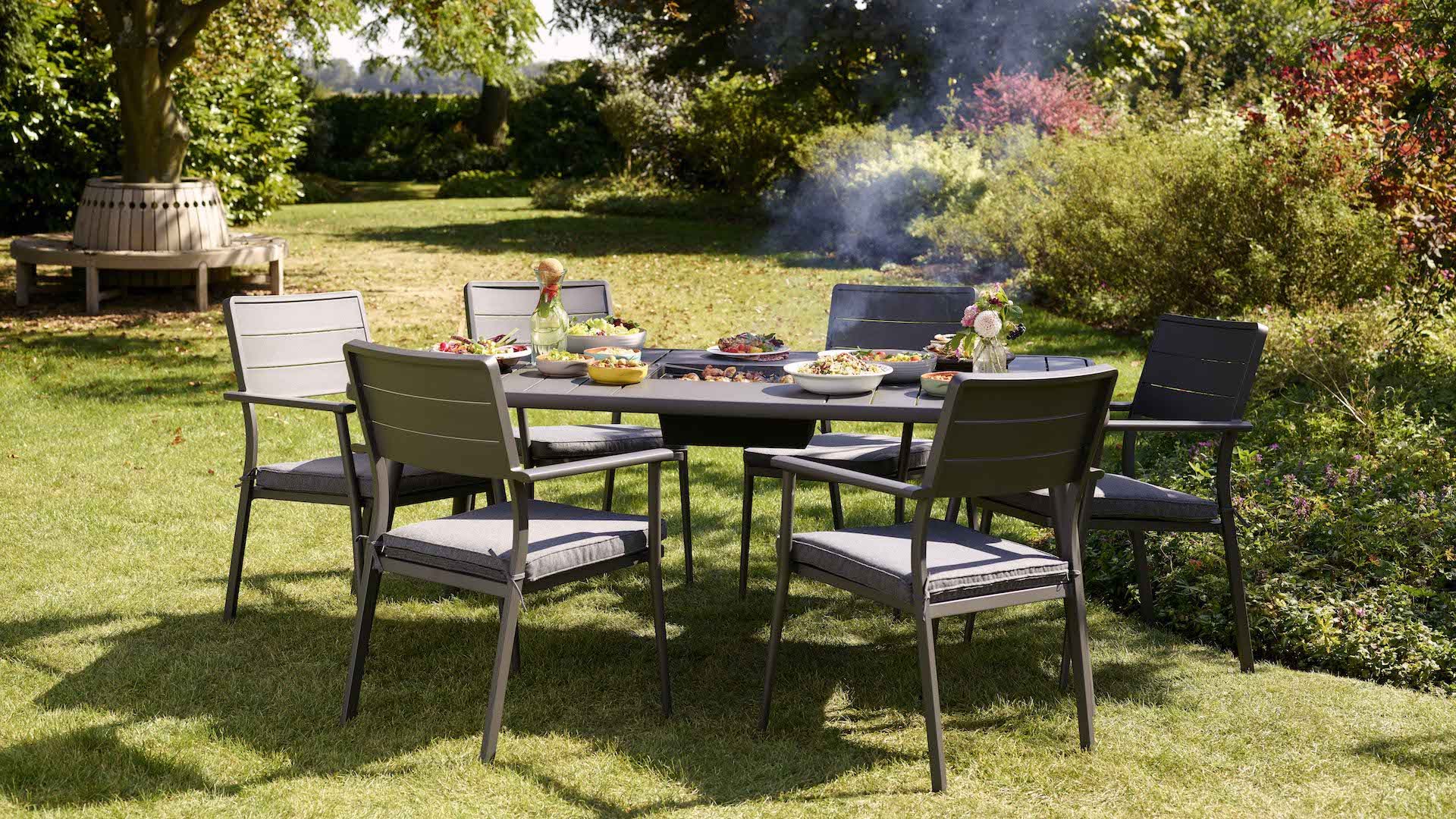 hartman jamie oliver caraway 6 seat firepit garden set. Black Bedroom Furniture Sets. Home Design Ideas