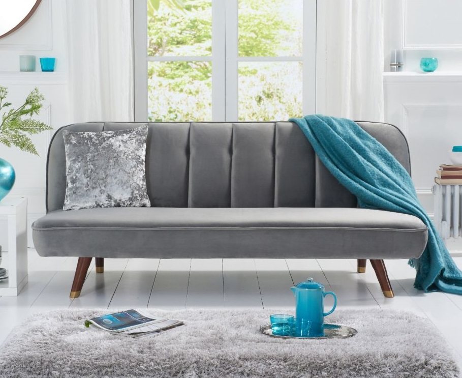 Click to view product details and reviews for Jodie Grey Velvet Sofa Bed.