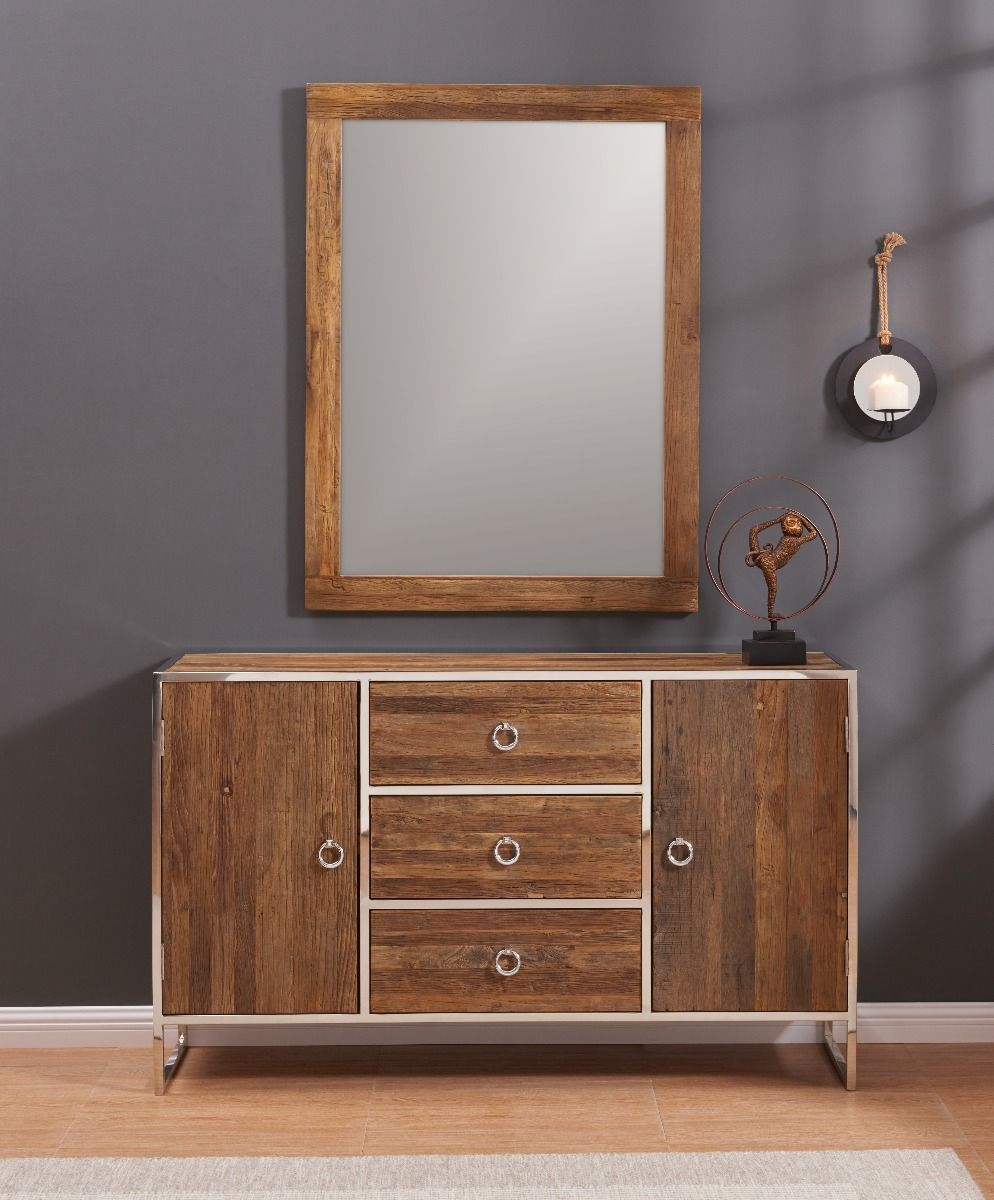 Malmo Wooden Sideboard And Mirror Set