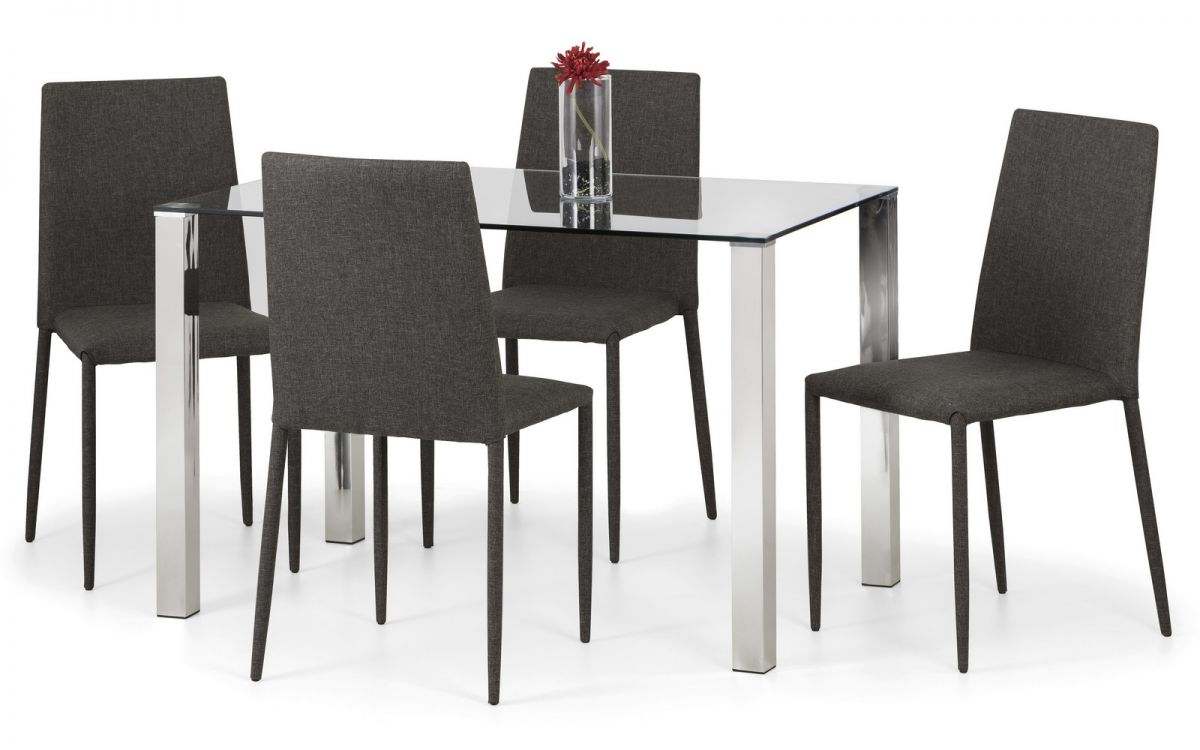 Julian Bowen Enzo Glass Rect 4 Seat Dining Set with Jazz Gre