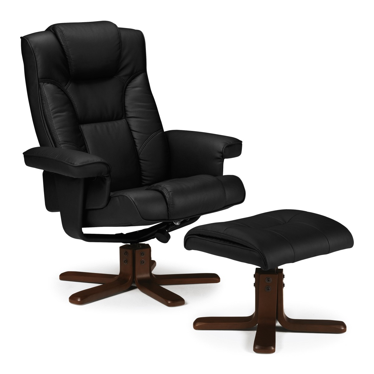 Photo of Julian bowen malmo black leather recliner chair and stool