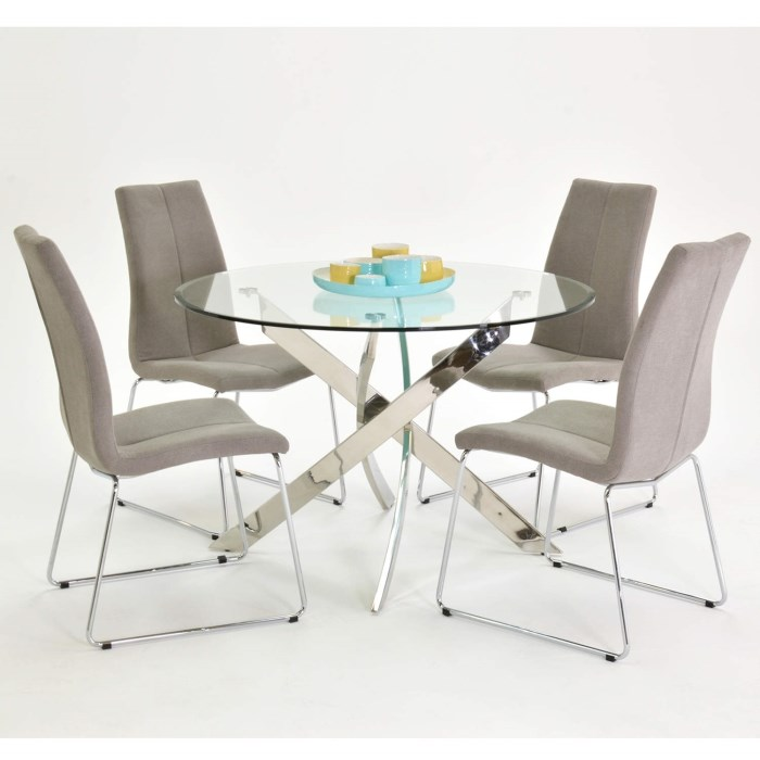 Kalmar 110cm Round Glass Table + 4 Evoque Grey Fabric Dining Chairs