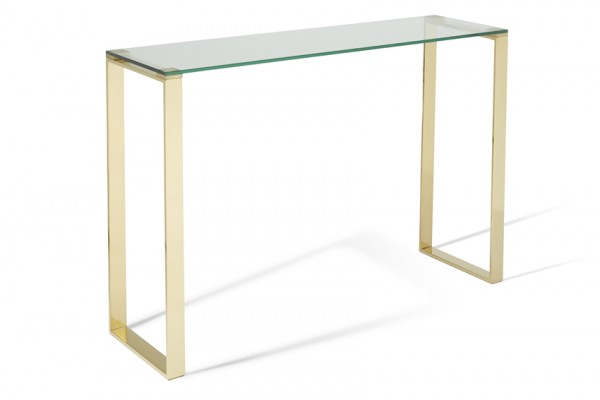 Serene Kayla Glass Top with Gold Console Table