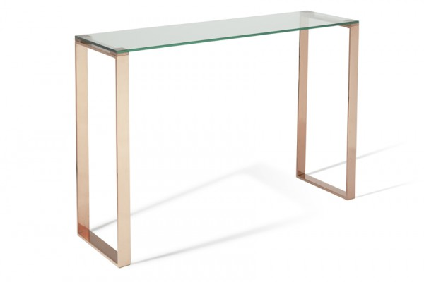 Serene Kayla Glass Top with Rose Gold Console Table
