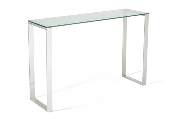 Serene Kayla Glass Top with Stainless Steel Console Table