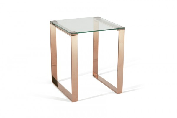 Photo of Serene kayla glass top with rose gold lamp table