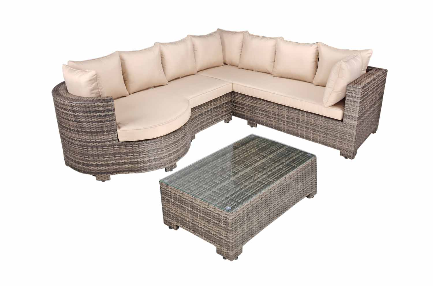 Kensington Rounded Arm Rattan Corner Sofa Set With Coffee Table 2017 Range