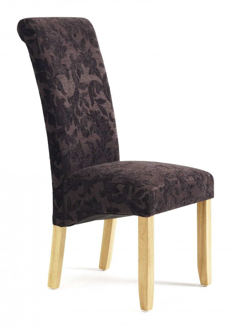 Serene Kingston Aubergine Floral Fabric Dining Chair With