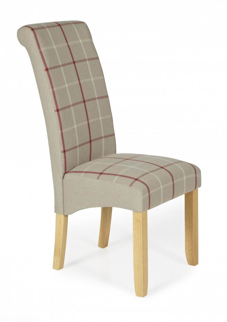 Elsa fabric dining chair in natural and washed legs in a  : kingstontartannaturaloakshot3 740x10501 from go-furniture.co.uk size 740 x 1050 jpeg 29kB