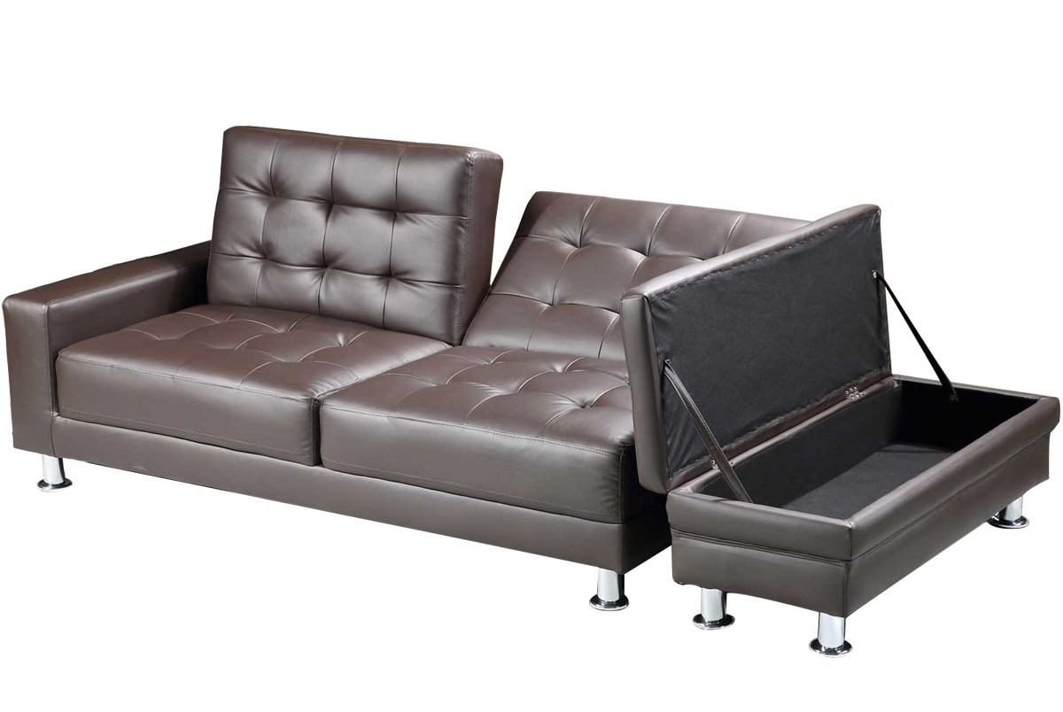 Kansas Brown Faux Leather Storage Sofa Bed