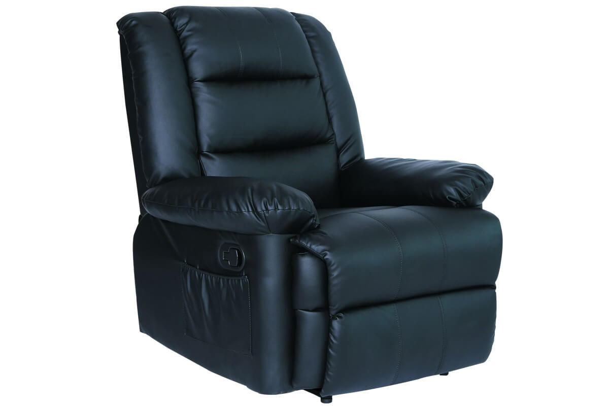 Photo of Lancaster black leather recliner chair