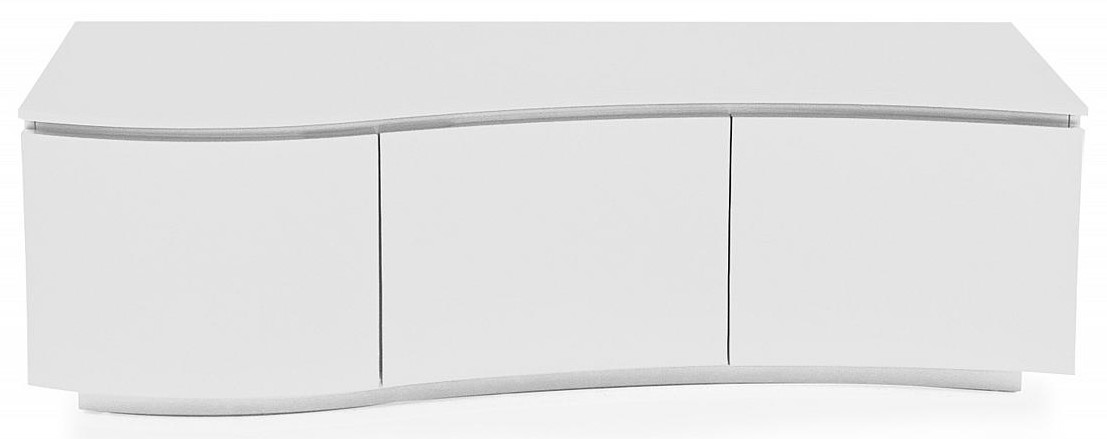 Lazzaro White High Gloss TV Cabinet with LED
