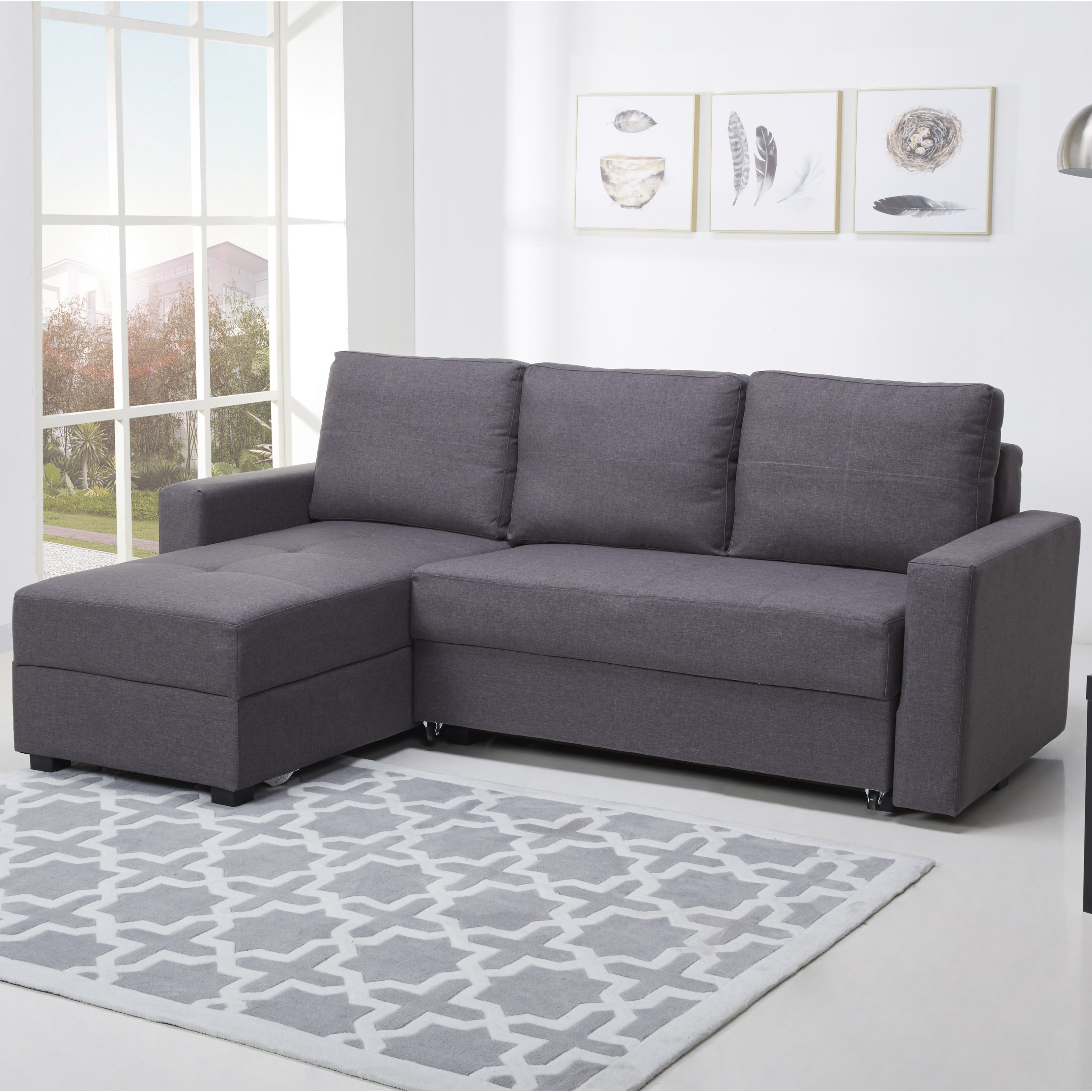 Photo of Rian willow grey fabric corner sofa bed with storage