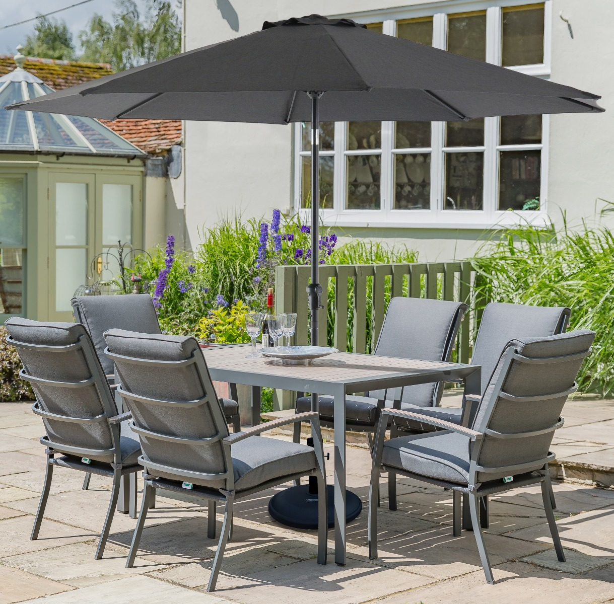 Leisuregrow Milano Grey Aluminium 6 Seater Dining Set with Highback Armchairs and  300cm Parasol and Base