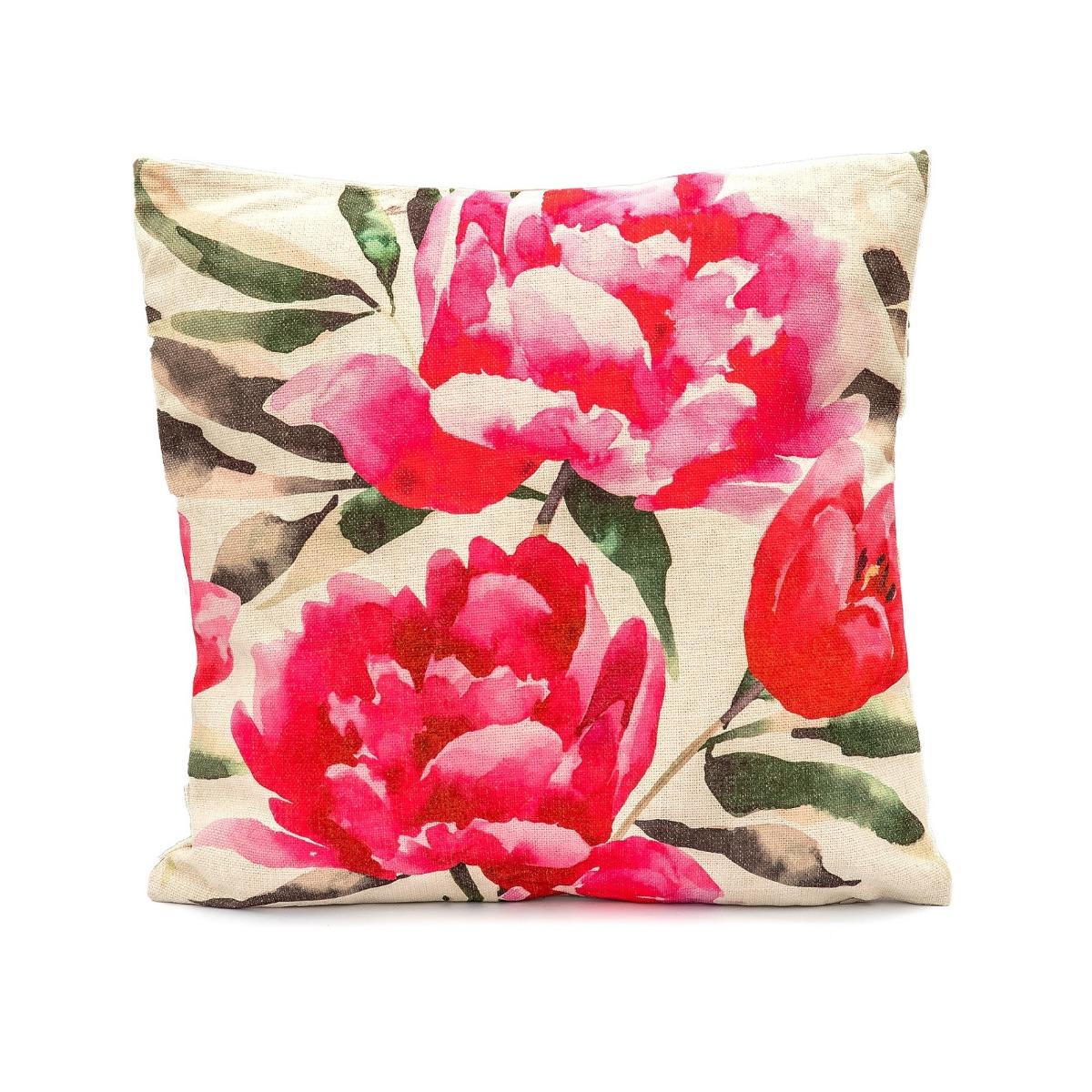 Leisuregrow Peony Poppy Red Fabric Scatter Cushion