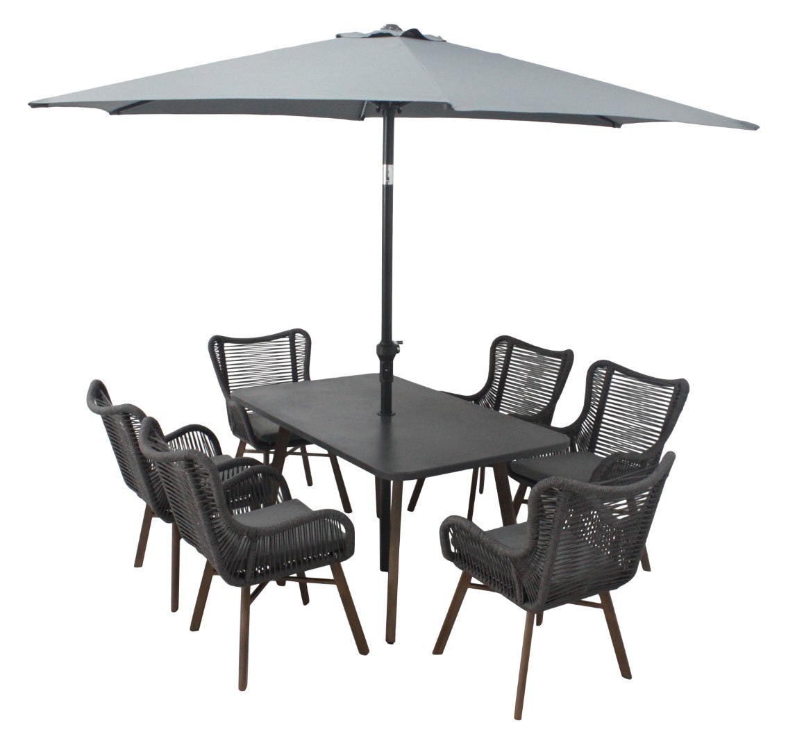 Leisuregrow Santa Fe Grey Aluminium 6 Seater Dining Set with 300cm Stainless Steel Parasol and Base