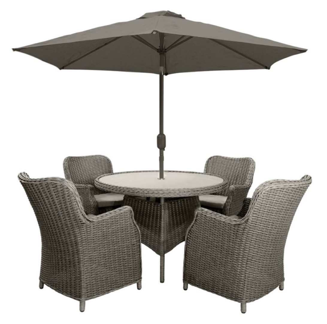 Leisuregrow Toulon Natural Rattan 4 Seater Dining Set with 230cm Stainless Steel Parasol and Base