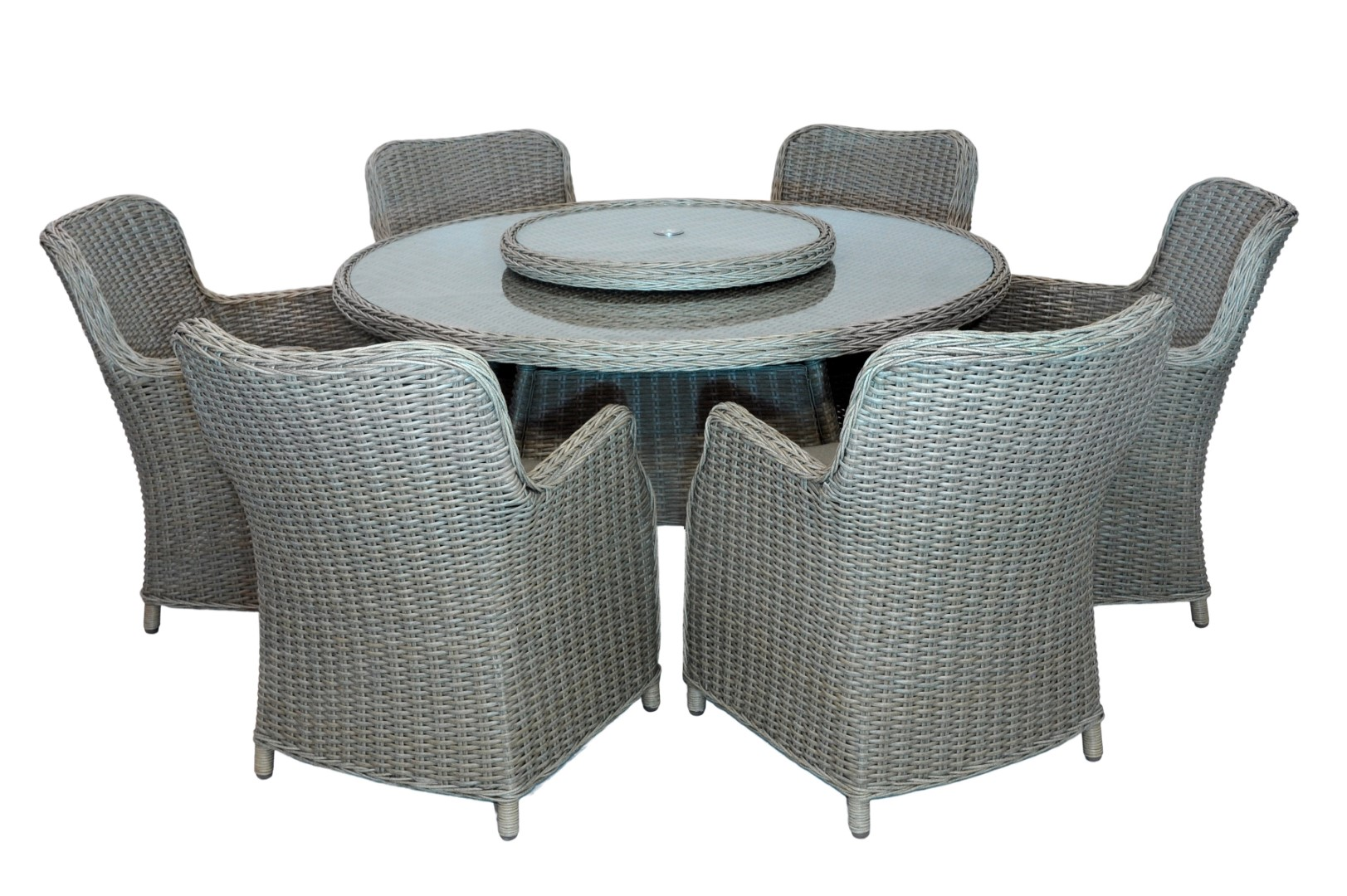 Leisuregrow marseille 170cm 8 seater round dining set with