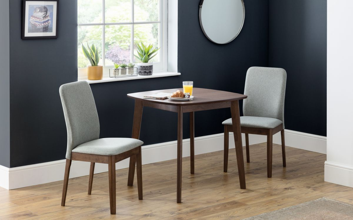 Lennox 80cm Square Walnut Dining Set With 2 Berkeley Chairs 272 00 Go Furniture Co Uk